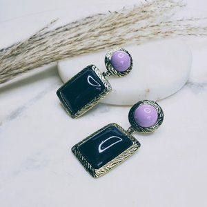 5 for $25 Purple and Gold Geometric Earrings